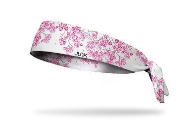 white headband with pink floral cherry blossom print