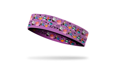 cat themed headband with colorful cats playing with coffee beans and mugs