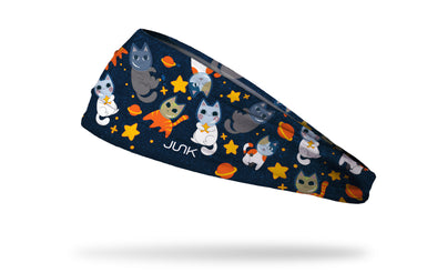cat themed navy headband with cats as astronauts in space with stars and moons