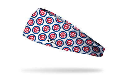 white headband with Chicago Cubs traditional logo in repeating pattern