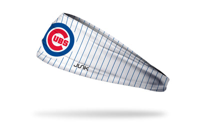 white headband with blue pinstripes and Chicago Cubs main logo front center in red and blue