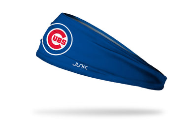 blue headband with Chicago Cubs classic C Cubs logo in red white and blue