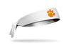 white headband with Clemson University paw print logo in orange