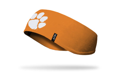 orange ear warmer with Clemson University paw print logo in white