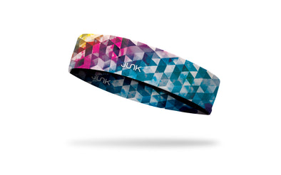 colorful headband with pink red blue yellow geometric design