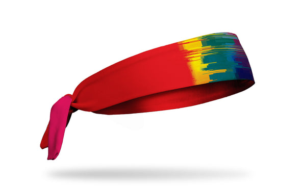 rainbow themed headband with red, green, blue, indigo, violet