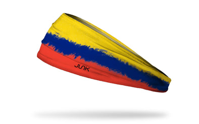 headband with traditional Columbia flag design made to look like it has been painted