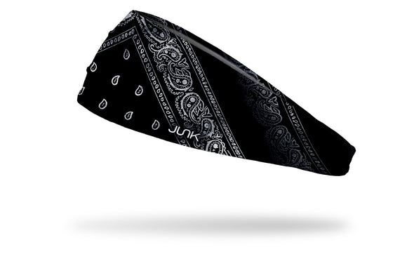 left side view black and white distressed paisley bandana print JUNK big bang lite headband
