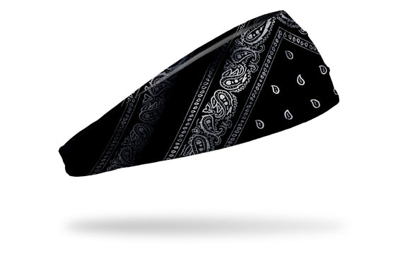 right side view black and white distressed paisley bandana print JUNK big bang lite headband