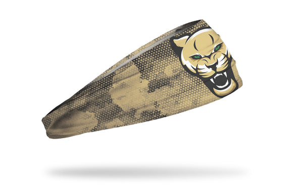 khaki headband with sand grunge overlay and generic cougar mascot in full color