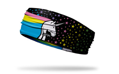 black headband with rainbow pastel unicorn and stars design in yellow purple blue and green
