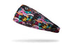 black headband with flowers, greenery, colorful leopard spots and hidden leopards