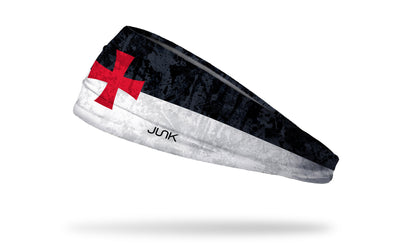 black and white headband with red templar cross
