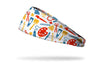white headband with school art supplies design in primary colors
