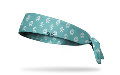 aqua blue headband with white hamsa hand repeating pattern