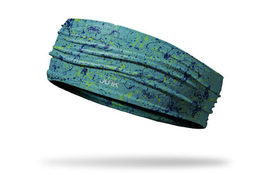 colorful teal and navy paint splatter headband