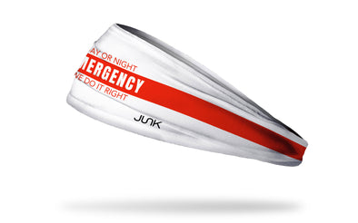 white medical themed headband with Day or Night Emergency Does it Right wordmark in red