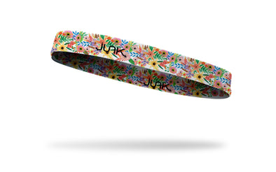 brightly colored flowers on thin band headband