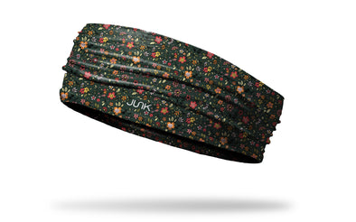dark green repeating pattern florals headband