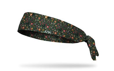 dark green headband with colorful multicolored flowers