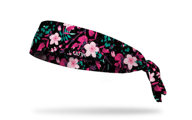 black headband with pink red and green floral tropcial print