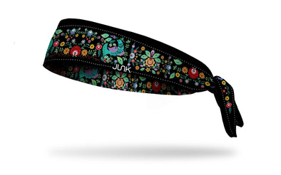 black headband with colorful vintage hippie floral and bird pattern
