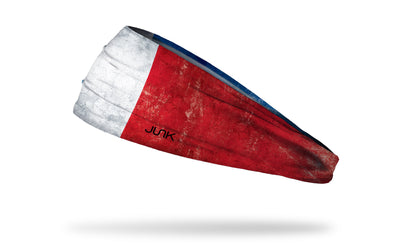 headband with traditional France flag design with grunge overlay