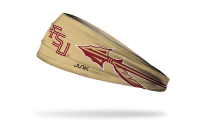 gold headband with Florida State University FSU wordmark logo and arrows in garnet