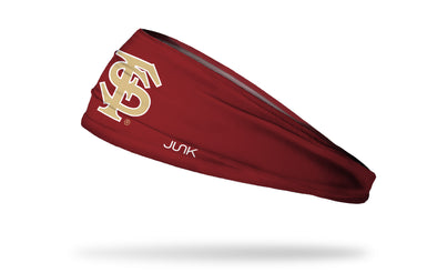 garnet headband with Florida State University FS baseball logo in gold with white outline