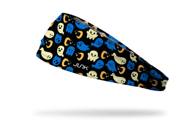 black headband with repeating pattern of blue and white ghosts with moons and stars