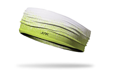 white headband with dapple grain gradient in neon yellow green