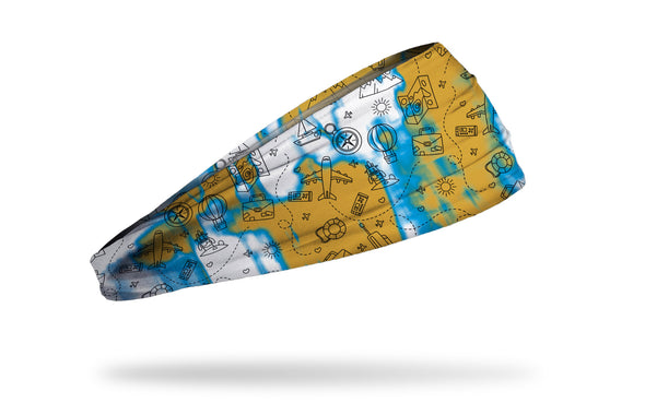 white headband with simple travel map airplane balloon sun images and acid wash design