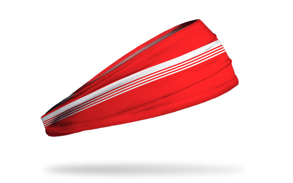 red headband with white varsity stripes through middle