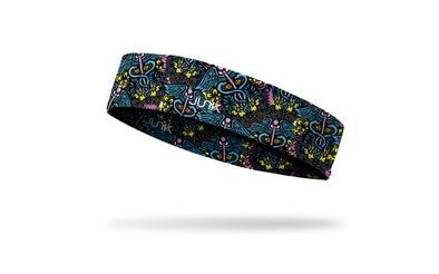tropical print medical themed headband with colorful caduceus repeating pattern
