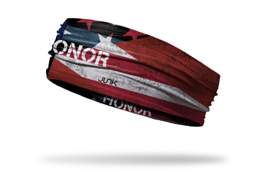 Memorial Day headband with Honor wordmark on American flag design