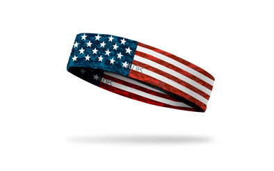 left side view of distressed american flag red white and blue printed JUNK headband