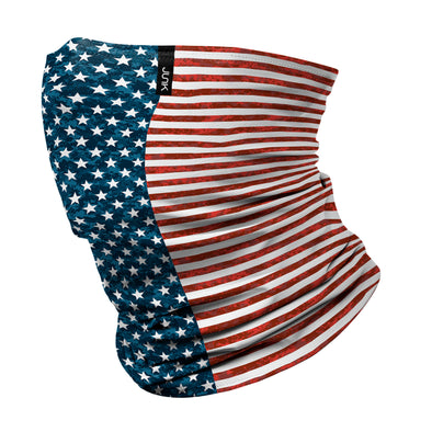 left side view of distressed american flag red white and blue printed JUNK winter neck gaiter