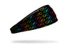 black headband with repeating infinity sign pattern in rainbow colors for Autism Awareness