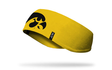 gold ear warmer with University of Iowa tigerhawk logo in black