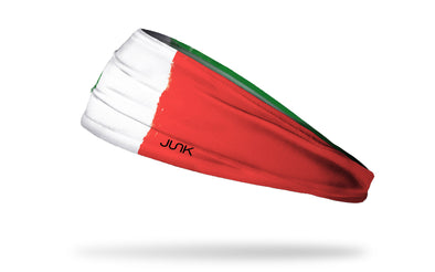 headband with traditional Italy flag design made to look like it has been painted