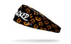 black headband with pattern of jack o lanterns and Jacked wordmark