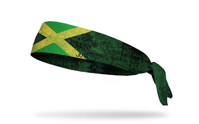 headband with traditional Jamaica flag design with grunge overlay