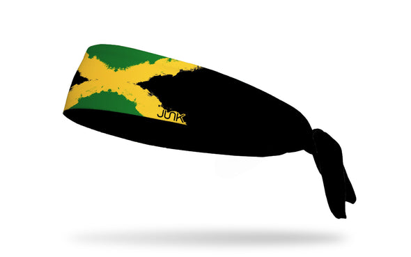 headband with traditional Jamaica flag design made to look like it has been painted