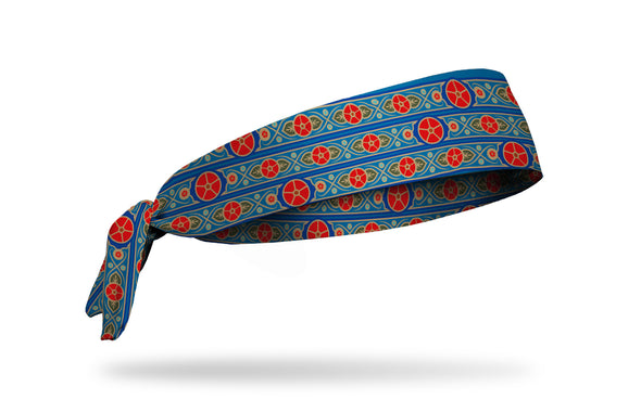 blue headband with red japanese flower repeating pattern and scrollwork