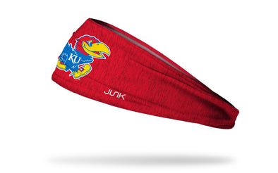 red heathered headband with University of Kansas full color jayhawk logo in front center