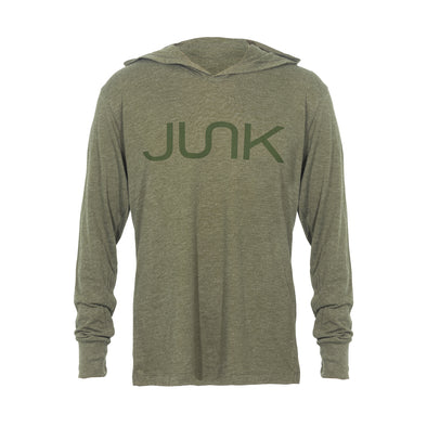 JUNK Tri-Blend Military Green Hooded Tee