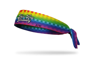 checkered rainbow fade print with cursive Just Keep Pedaling wordmark