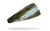 generic camo headband with University of Kansas Jayhawks wordmark on grunge stripe with jayhawk head logo