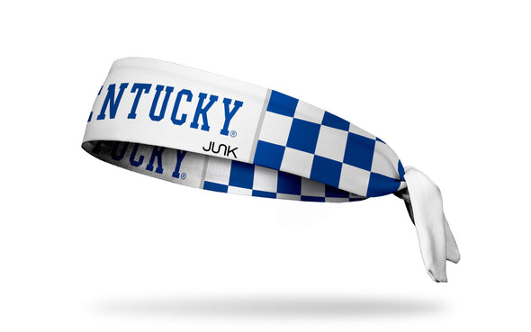 blue and white checkered headband with University of Kentucky wordmark logo in blue inside white block