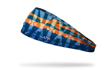 orange and blue tribal pattern headband with faded pine trees